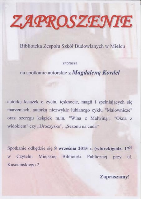 c7d9b5417c6cc Zespół Szkół Budowlanych w Mielcu - Spotkanie autorskie z Magdaleną ...